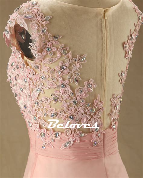 beaded lace appliques 2016 pink illusion chiffon prom dress with beaded lace