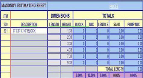 masonry templates masonry estimating sheets