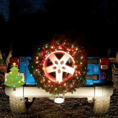 jeep wreath spare jeep tire lighted wreath preppy vehicles