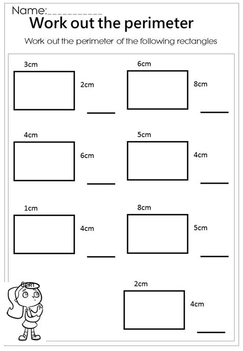 work out the rectangle perimeter worksheet mathematics