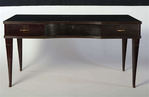 italian writing table in lacquered wood with three drawers