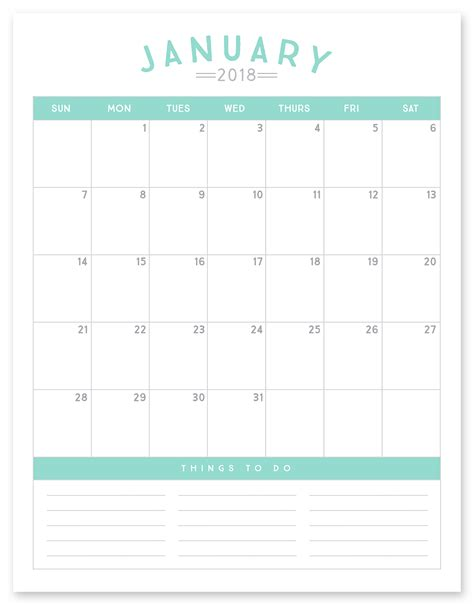 free printable 2018 calendar simple as that