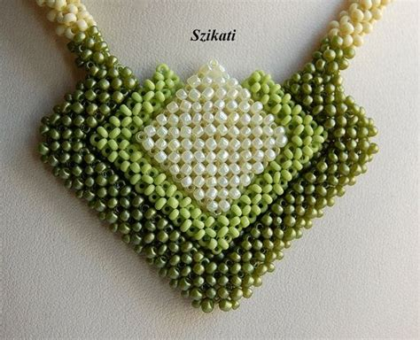 beadwork green green seed bead necklace statement beadwork necklace by