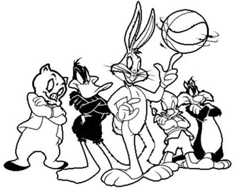 space jam looney tunes basketball team coloring pages