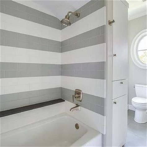Shower Corner Bench Shower With Striped Tiles Transitional Bathroom