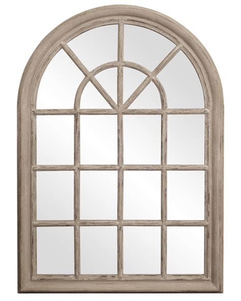 Distressed Wood Mirror Weathered Taupe Fenetre Arched Rustic Windowpane Style With Distressed