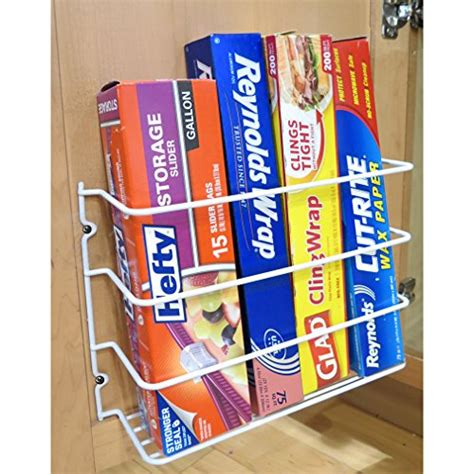 Cabinet Door Kitchen Wrap Organizer Evelots Wall Door Mount Kitchen Wrap Organizer Rack Cabinet Space Saver White Home Garden