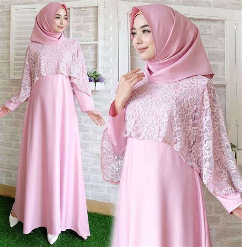 Gamis Pink Salem baju gamis lebaran brokat terbaru new soft pink