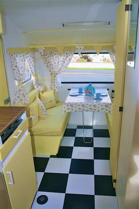 yellow interior of vintage caravan paranoia