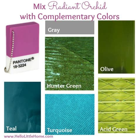 colors that go well with green tips for decorating with radiant orchid and other bold colors