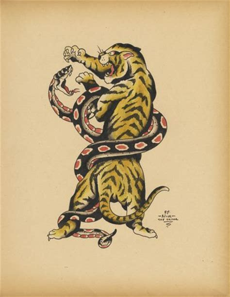 tattoo old school artist old school tattoo flash of tiger snake b 202 tes