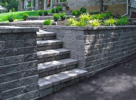 interlocking concrete block retaining wall landscaping