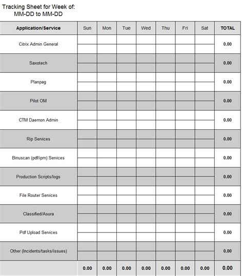 tracking sheet template weekly tracking sheet template sle