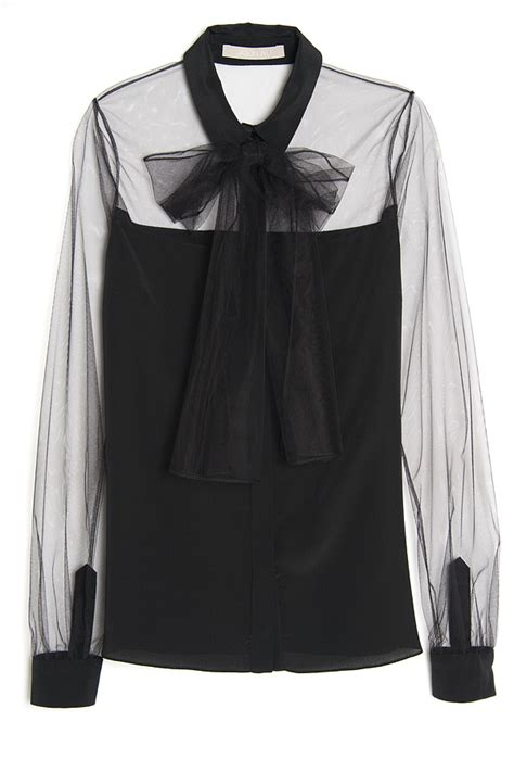 Sheer Black Blouse With Bow by Jason Wu Sheer Bow Blouse In Black Lyst