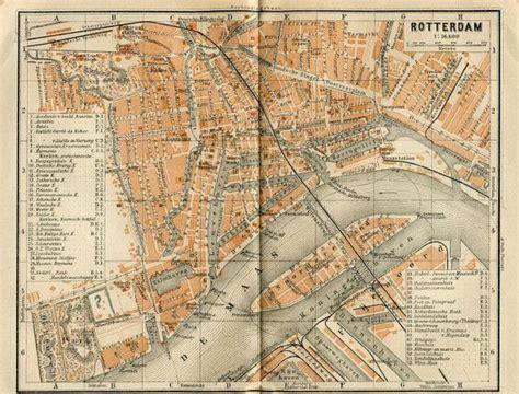 netherlands map rotterdam 1905 vintage city map rotterdam netherlands