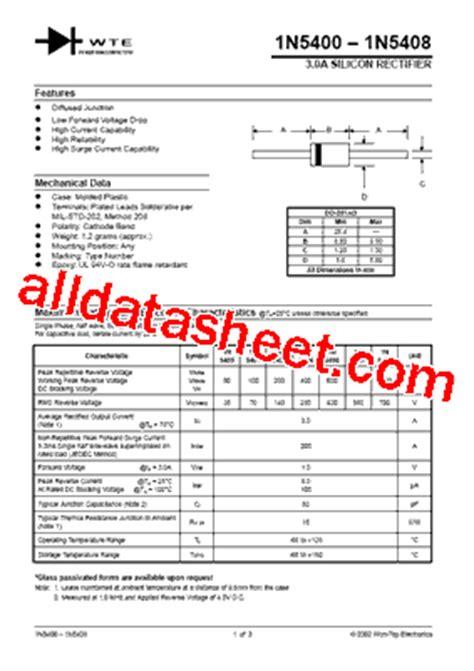 1n5408 diode datasheet 1n5408 datasheet pdf won top electronics