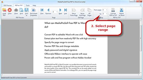 convert pdf to word selected pages mediaprosoft free pdf to word converter how to convert