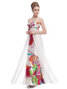 Special occasion dresses prom dresses white long floral printed dress