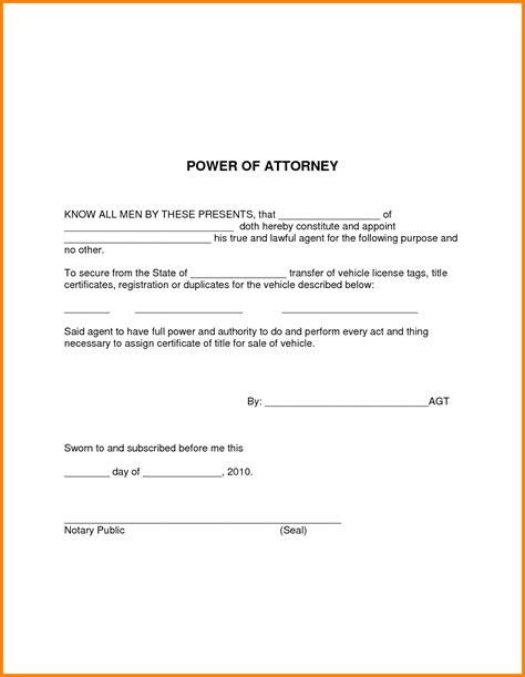 Simple Power Of Attorney Template Best Template Idea Poa Letter Template