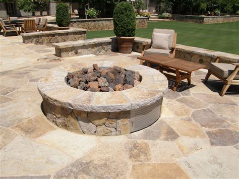 Flagstone Patio With Firepit Multiblend Flagstone Built Patio And Pit Outdoor Pits Fireplaces Pinterest