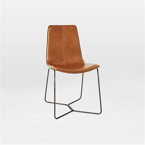 Leather Chairs Dining Leather Slope Dining Chair West Elm