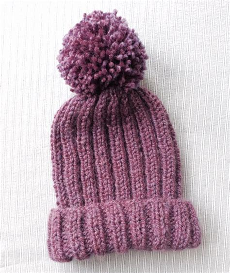 ribbed knitting patterns knitted ribbed bobble hat pattern pom pom hat by