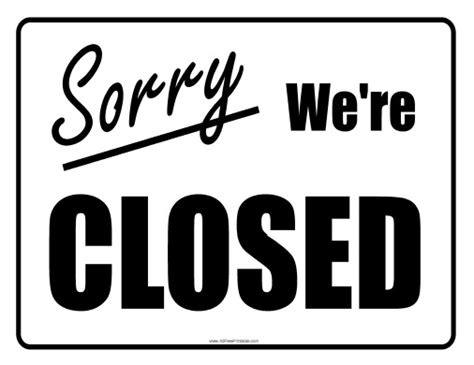 image gallery office closed sign template
