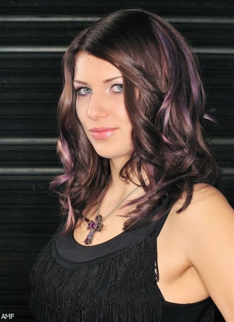 brunette hairstyles with purple highlights dark brown hair with purple highlights underneath 2015