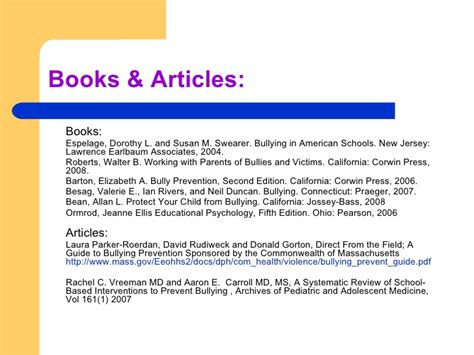 reference books about bullying prevent bullying at school