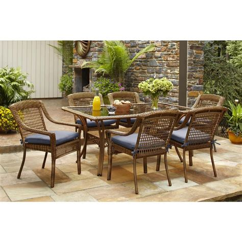 patio wicker dining set hton bay brown 7 all weather wicker