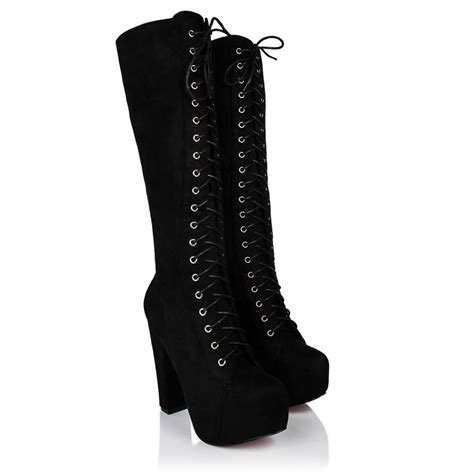 new womens block heel lace up zip platform knee high boots