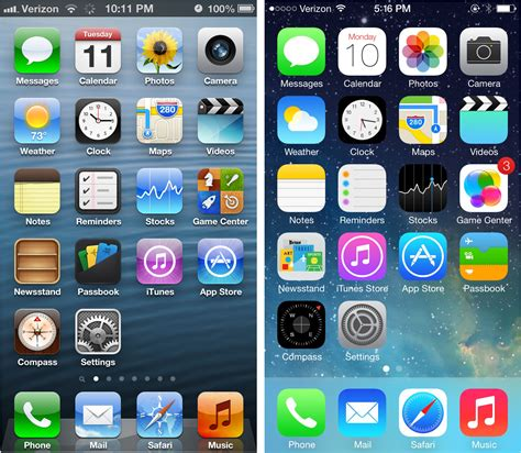 ios 6 left vs ios 7 home screens do you really want to