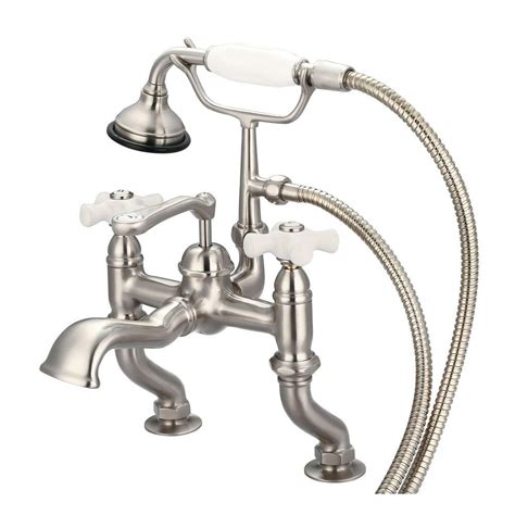 pristine porcelain bathtub with original nickel plated water creation 3 handle vintage claw foot tub faucet with