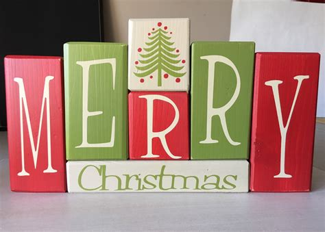 merry christmas wood blocks sign centerpiece holiday