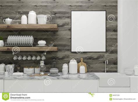 houten planken keuken houten keuken met affiche planken stock illustratie