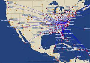 us airways route map america from