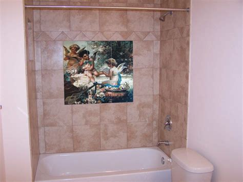 Tumbled Marble Kitchen Backsplash by Custom Tiles And Tile Mural Pictures Custom Tile Murals