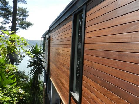 Wood Paneling Exterior by Ipe Siding And Ipe Decking Project Contemporary