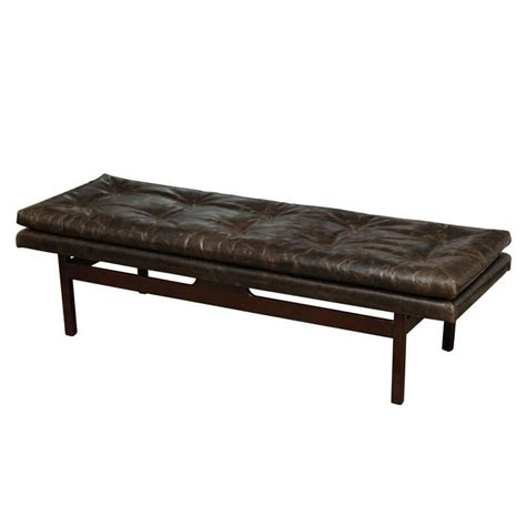 leather bench tufted leather bench at 1stdibs