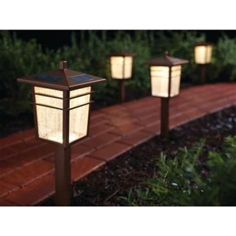 Home Depot Outdoor Lighting Kits Hton Bay Solar Square Mission Led Bronze Outdoor Pathway Light Kit 4 Pack 49603 300mg The
