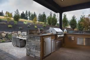 outdoor kitchen with hood transitional deck patio