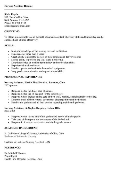 Exle Of Nursing Resume by 12745 Cna Resume Objective Objective For A Cna Resume