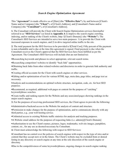 marketing services agreement template seo agreement template