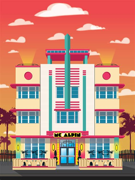 coloring book app project deco miami hotel illustrations on behance