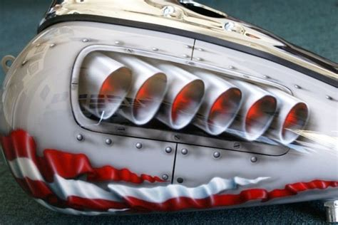 custom motorcycle paint on your tins quot p 40 rivets quot gas tank airbrush ebay