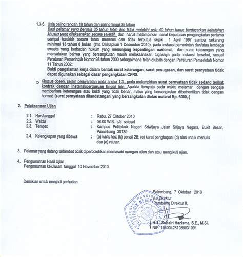 lowongan cpns politeknik negeri sriwijaya palembang cpns