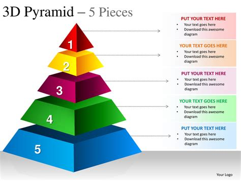 3d powerpoint presentation templates free 3d pyramid 5 pieces powerpoint presesntation templates