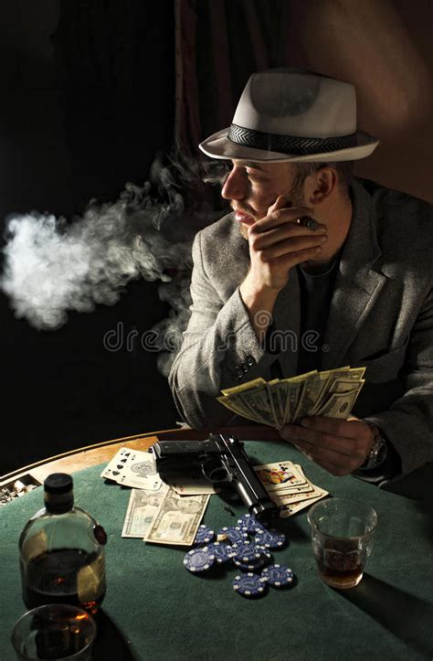 gangster smoking  play poker stock image image  prestige card