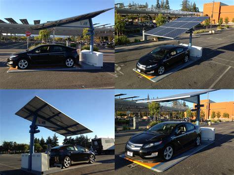 chevy volt solar charger san diego airport runs test on portable solar paneled ev