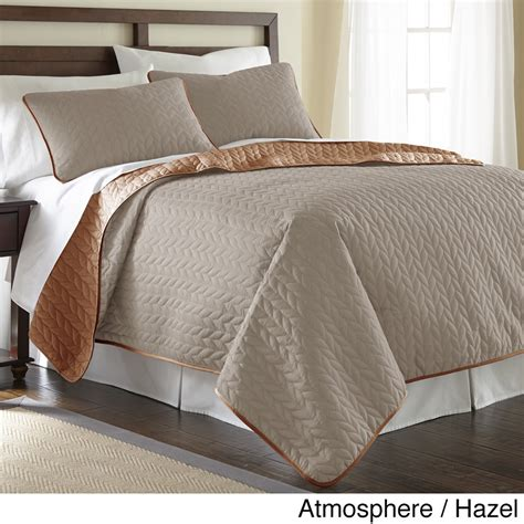 brown coverlet king new queen king bed beige copper brown reversible 3 pc